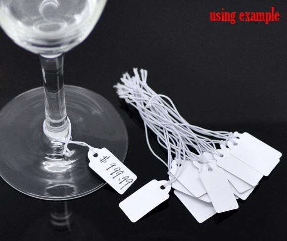 100 stuks witte prijs labels prijskaartjes 22mm x 13mm met  touwtje van elastiek
