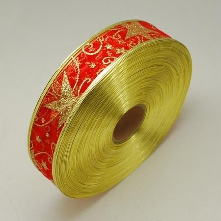 1 meter organza lint met goud glitter rood 38mm ster met metaaldraad
