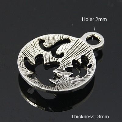 4 x prachtige ronde tibetaans zilveren bedel 15 x 3mm gat: 2mm