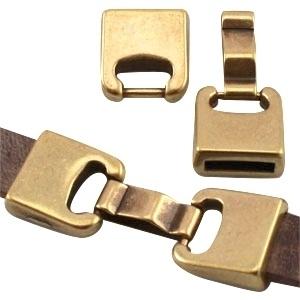 DQ metaal sluiting (voor DQ leer plat 10mm) Geel koper kleur (nikkelvrij)