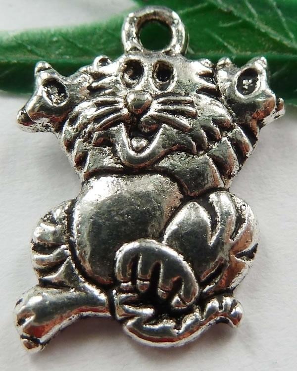 4 x Tibetaans zilveren bedel van een vrolijke kat 17 x 13,5 x 2mm Gat: 1,5mm
