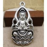 5x Prachtige Tibetaans zilveren hanger van Guanyin ( troost en genade) 36 x 18mm, Oogje c.a. 1-3mm