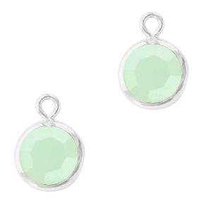 2 x DQ Hangers van crystal glas rond 6mm Silver-Powder opal green