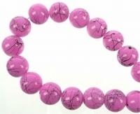 10 stuks Glaskraal rond edelsteen look rose 12 mm