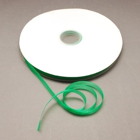 5  meter Organza lint 10mm breed per meter,  Groen