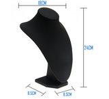 Buste  3  afm. 24 cm hoog display halsje zwart PU leer (kies voor pakketpost)