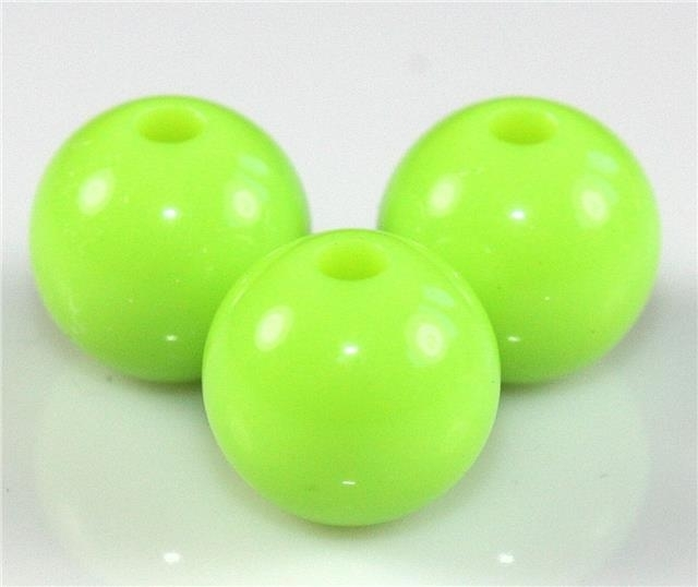 15 Stuks acrylkralen 12 mm gat ca 2 mm neon groen