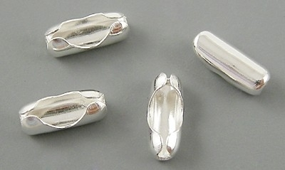 10 keer verzilverde connectors voor -ball chain kettingen  2mm -2,4mm