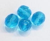 5 x Glaskraal facet Aqua 10 mm