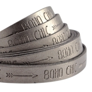 20 cm Plat imi leer 10mm met quote Boho Chic Metallic silver grey
