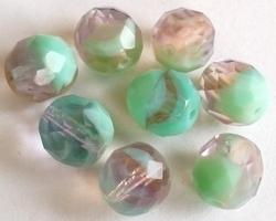 5 x facet kristal duo-kleur 10 mm
