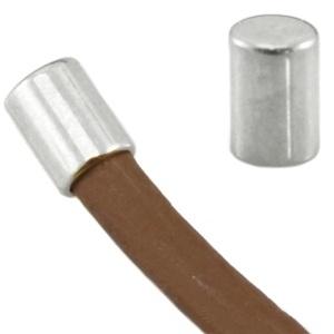 4 x DQ metaal eindkapje tube vorm Antiek zilver  ca. 6 x 6 mm (voor 5mm draad)