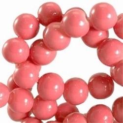 15 stuks Glaskraal rond met keramiek coating Rouge Roze. 8 mm