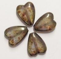 Per stuk Glaskraal hart glanzend transparant bruin 16 mm