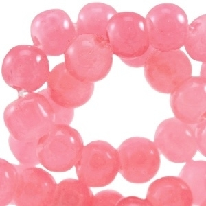 15 stuks glaskralen opaal vintage 8 mm  Paparacha roze