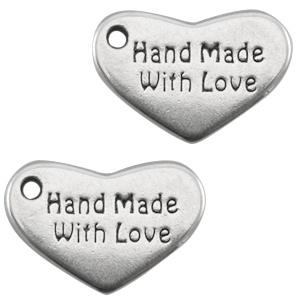 """Bedels DQ hart """"hand made with love"""" Antiek zilver 10 x 15mm"""