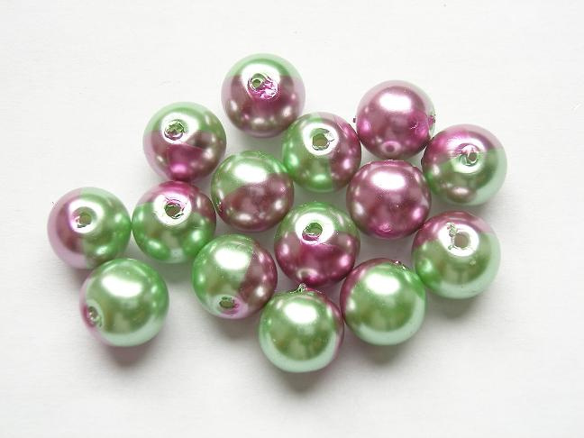 15 stuks tweekleurige glas parels van 10mm Gat: 1,5mm groen-roze