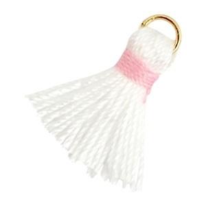 Kwastjes Ibiza style 1.5cm Goud-Wit roze
