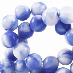 10 stuks kunststof kraal rond blauw wit gemeleerd 8 mm