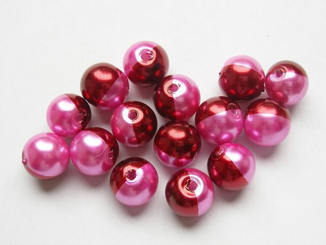 15 stuks tweekleurige glas parels van 10mm Gat: 1mm roze-rood
