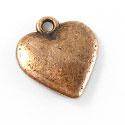 6 x  Tibetaans zilveren bedel hartje 14x15mm rood koper kleur
