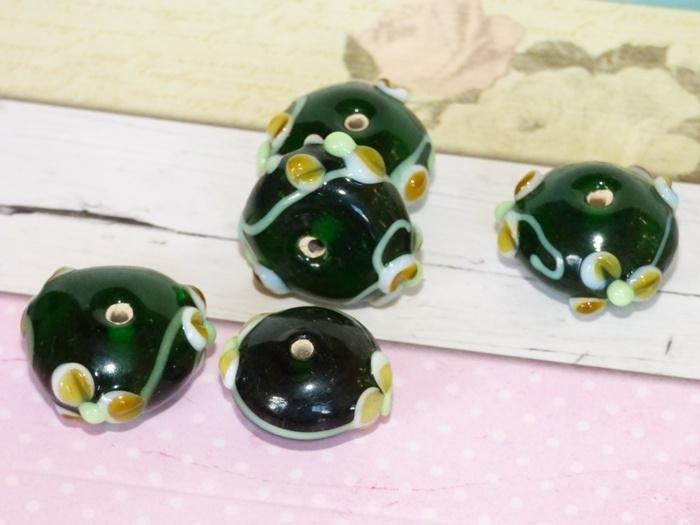 5 x High Quality Glass Hand Made Bead 043 afm. ca. 20 x 12mm