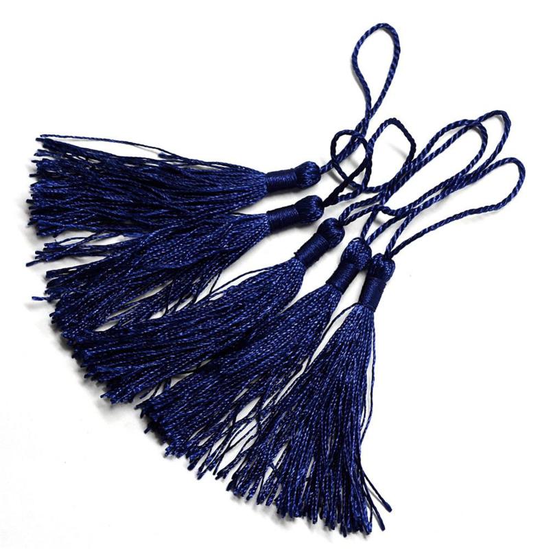2 x Satijn kwast lengte kwast 9 cm incl. lus 130 x 6mm Midnight Blue