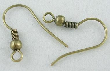 2 stuks Geel koperen oorbellen haakjes