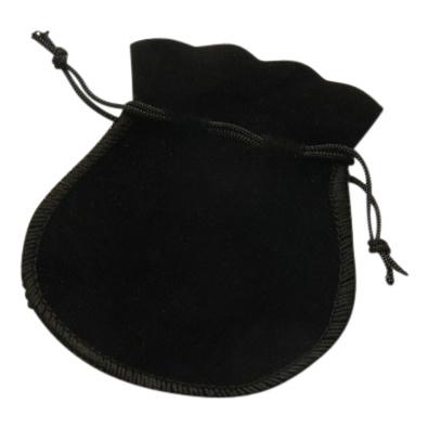 3 x Luxe zwart zakje velours met koordje 9 x 7cm
