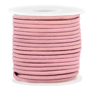 50cm  DQ leer rond 2 mm Rouge pink - vintage finish