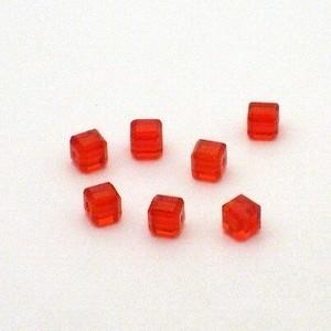 6x Preciosa Handgeslepen kristal kraal 4mm rood