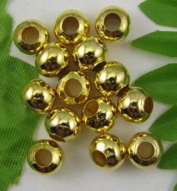 """100 stuks """"gouden"""" kraaltjes, 3mm metaal nikkelvrij gat c.a. 1,2mm"""