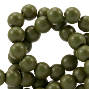 10 x 8 mm glaskraal half mat Army green