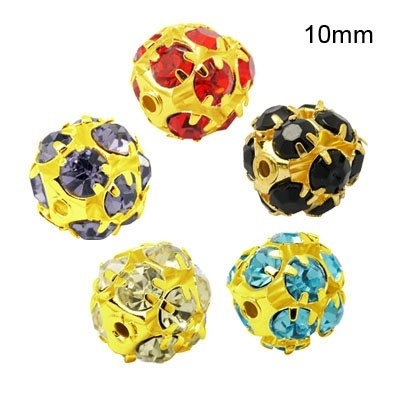 5 x vergulde kristal ballen 10mm mix