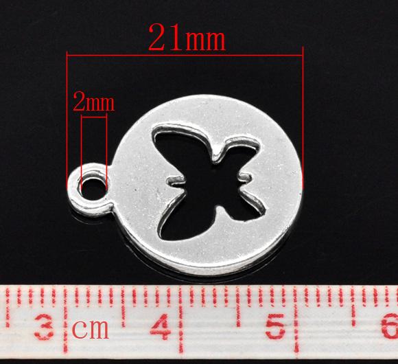 10x leuke bedel met vlinder 17 x 1,8mm gat: 2mm
