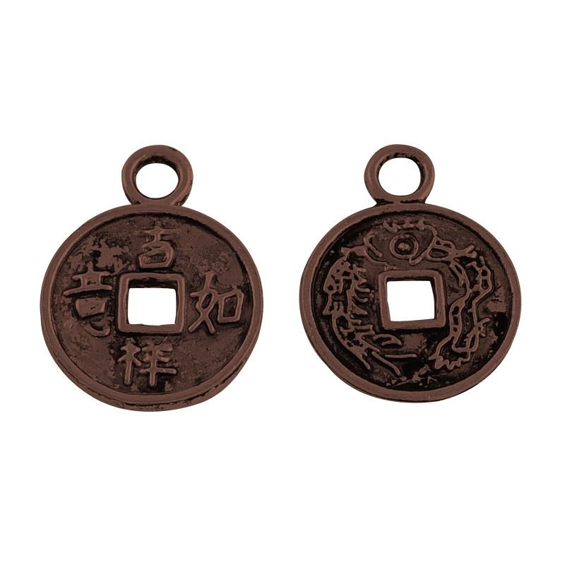 10 stuks tibetaans zilveren muntje rood koper kleur 17 x 13 x 1mm oogje: 2mm