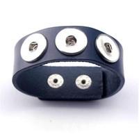 Drukker armband van runderleder en drukknoopsluiting enkele rij voor drie verwisselbare drukkers donker blauw