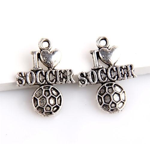 4 x Antiek zilveren metalen bedel I Love Soccer 22 mm