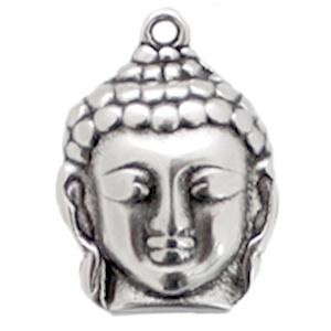1 x Bedel DQ Buddha large Antiek zilver (nikkelvrij) ca. 29 x 21 mm