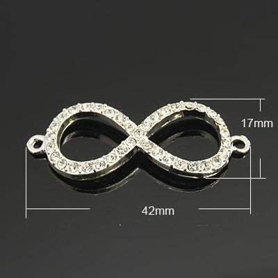 Schitterende Infinity tussenzetsel met strass 17 x 42 x 3mm gat: 2mm