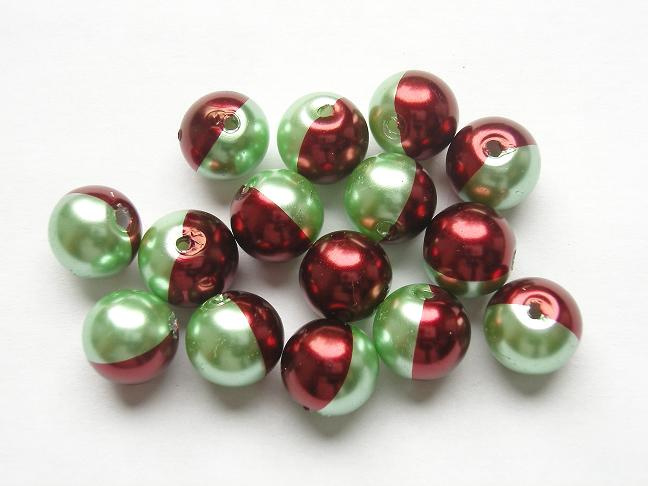 15 stuks tweekleurige glas parels van 10mm Gat: 1mm groen-rood