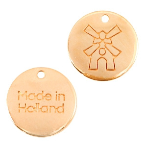 "Per stuk DQ metalen bedels 12mm ""made in Holland"" molen Rosé goud (nikkelvrij)"