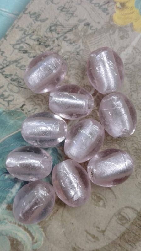 10x prachtige zilverfolie glaskraal roze 14x11mm Gat: 2mm Ovaal