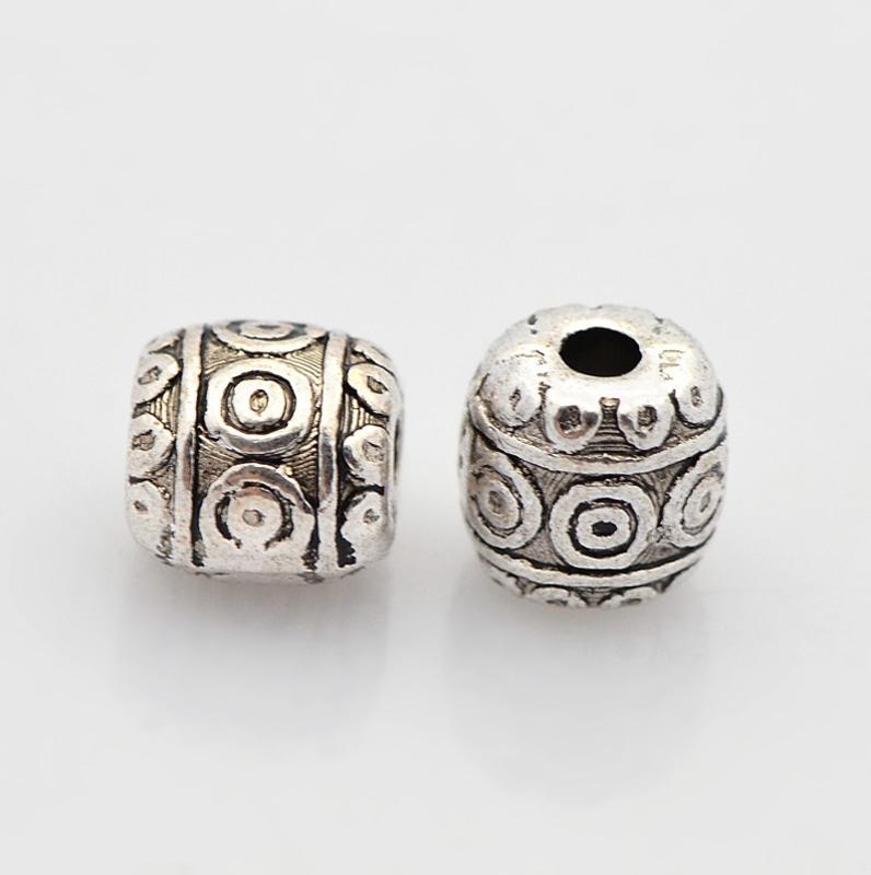 10 stuks Tibetaans zilveren tussenzetsel kraal 6,3 x 6,4mm