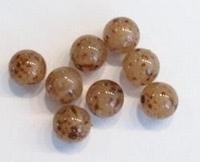 10 stuks Glaskraal rond beige/bruin gespikkeld 6 mm