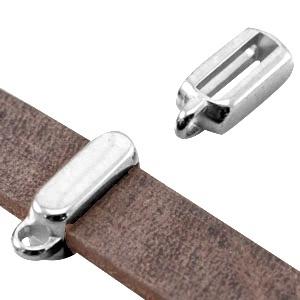 B Quality metaal schuiver met oog rechthoek (voor DQ leer plat 10mm) Antiek zilver (nikkelvrij)