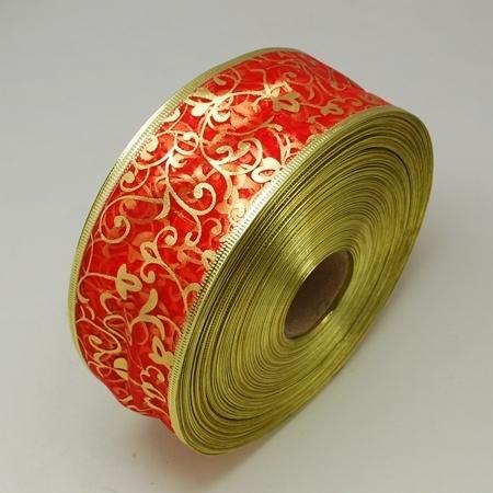 1 meter organza lint met goud glitter rood 63mm breed met metaaldraad