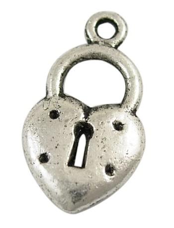 6 x Tibetaans zilveren sleutelgat 20 x 11 x 2mm gat: 1,5mm