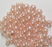 Glas-set transparant Licht roze met mooie parelmoer glans in 3 maten 14 mm, 12 mm en 10 mm  c.a. 60~70 gram