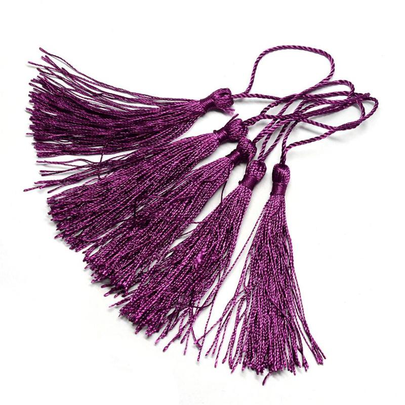2 x Satijn kwast lengte kwast 9 cm incl. lus 130 x 6mm purple 02